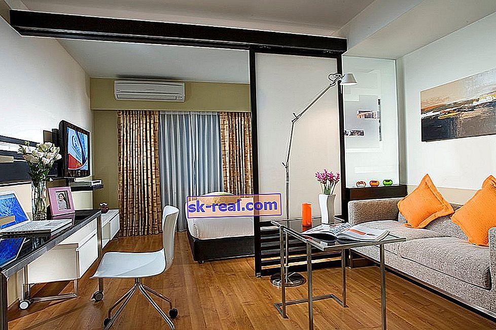 Dizajn dnevne sobe i spavaće sobe površine 20 kvadratnih metara. m